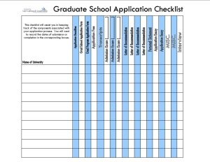 Grad School Application Checklist Quik Sheet